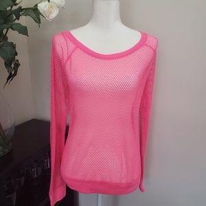 PINK Victorias Secret Fishnet Long Sleeved Top